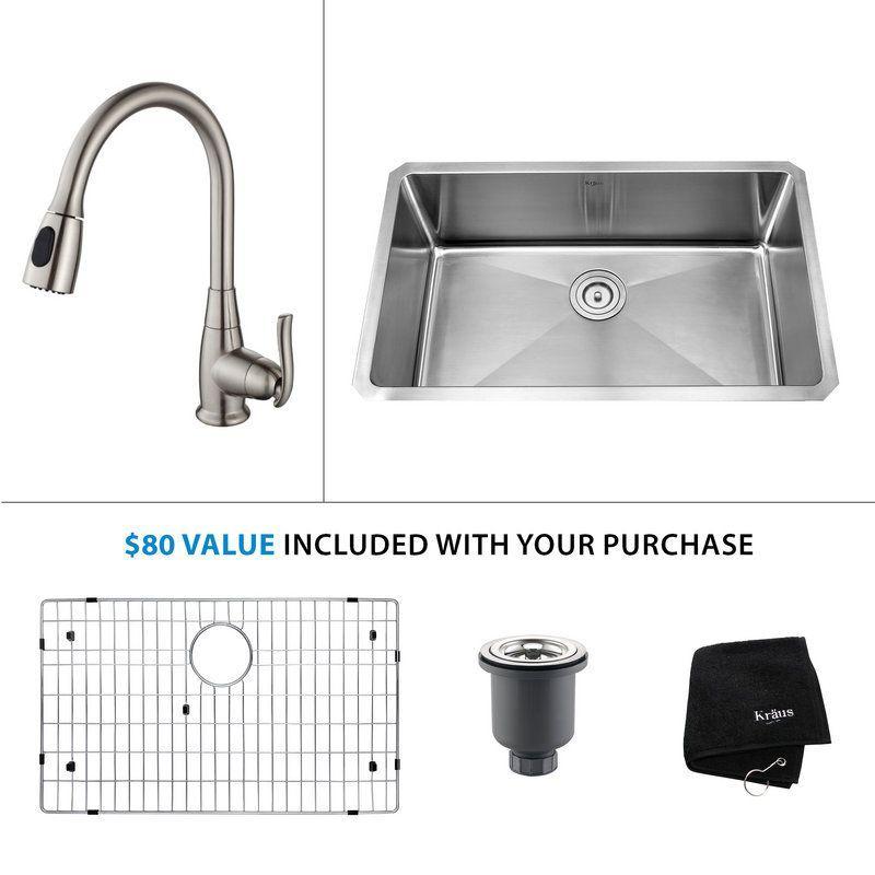"""Kraus KHU100-30-KPF-2230 Kitchen Combo - 30"""" Undermount Single Basin 16-Gauge St Stainless Steel / Satin Nickel Fixture Kitchen Sink Combination"""