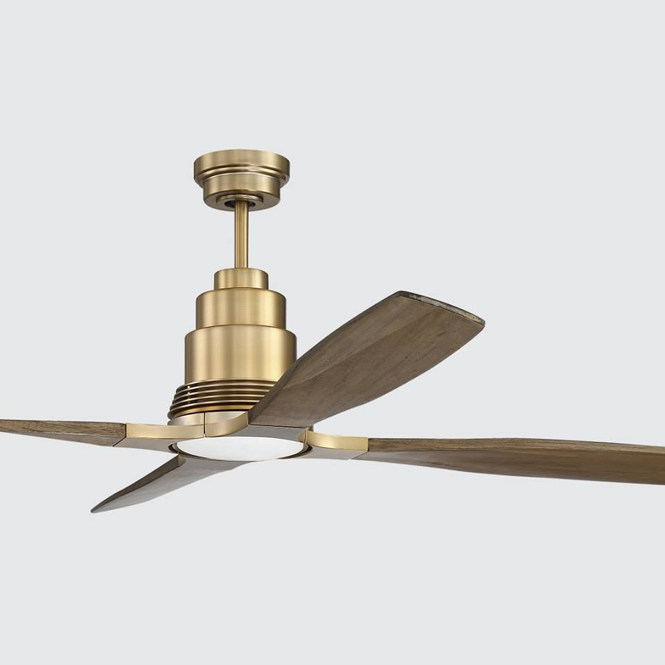 We Re Obsessed With This Modern Gold Ceiling Fan From Our Fulton Collection Want A New Ceiling Fan At 50 Off Gold Ceiling Fan Brass Ceiling Fan Ceiling Fan
