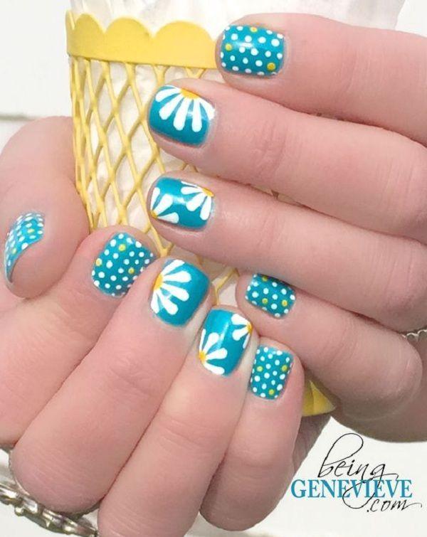 30 adorable polka dots nail designs daisy petals spring nails 30 adorable polka dots nail designs prinsesfo Image collections