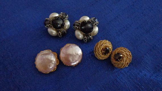 Lot of 3 Gold Tone Clip On EarringsPearl Clip Stud by TraderTrudys