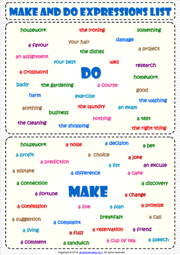 Make and Do Expressions List ESL Grammar Handout | Do-Make | Pinterest