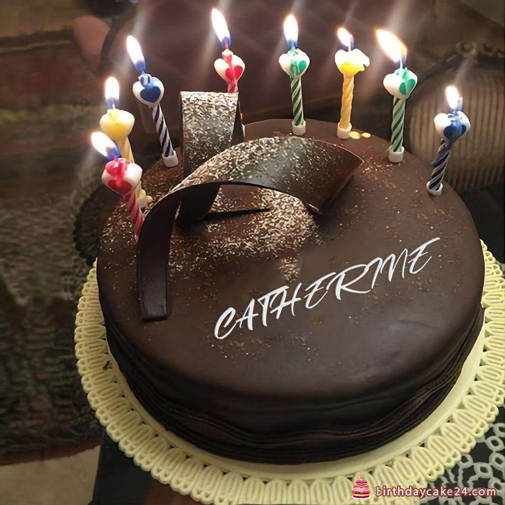 Write Name On Chocolate Happy Birthday Cake With Candle Happy Birthday Cakes Birthday Cake With Candles Chocolate Cake With Name