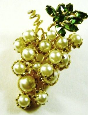 Schreiner New York Faux Pearl Grapes Rhinestone Pin