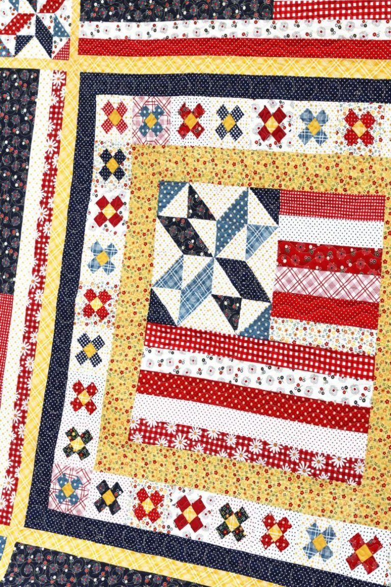 Americana Quilt Pattern by Amy Smart is part of Quilts, Quilt patterns, Patriotic quilts, Traditional quilts, Sampler quilts, Crazy quilts - Americanainspired quilt pattern, Land that I Love, by Amy Smart  A medallionstyle quilt design with traditional patchwork and American flags