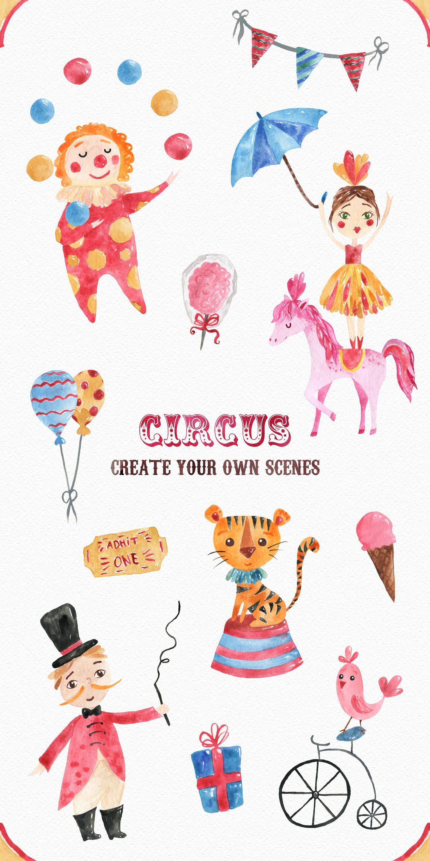 Circus Watercolor Clipart Set Instant Digital Png Download
