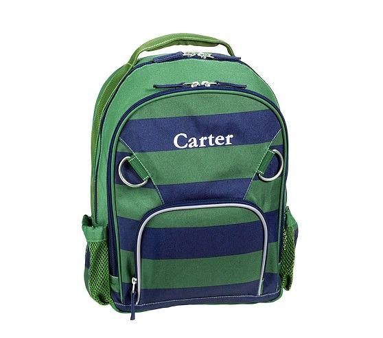 Fairfax Green Navy Stripe Backpacks
