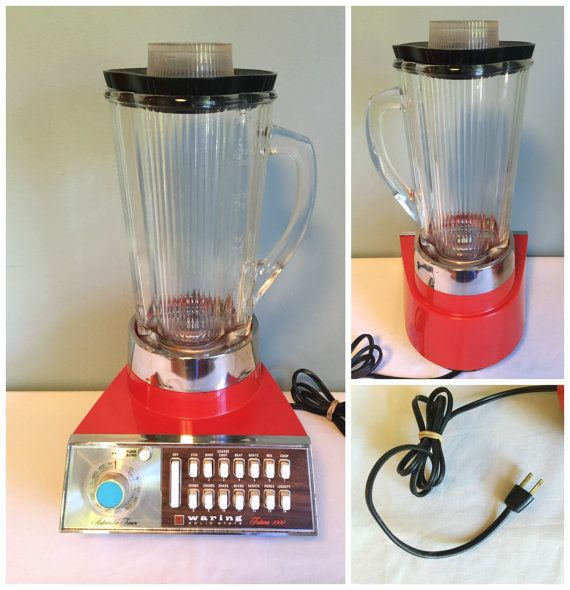 Vintage Mid Century RED Warning Solid State Futura  1000 Blender, 14 Speeds With Automatic Timer,  WORKING Blender.