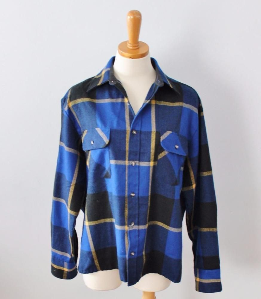Flannel shirts yellow  Vtg Northwest Territory blue yellow black Plaid Flannel Shirt Men M