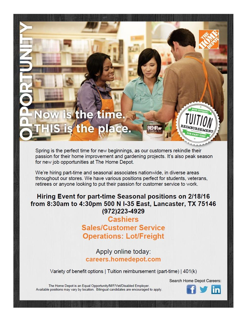 The Home Depot is hiring in the Southern sector of Dallas