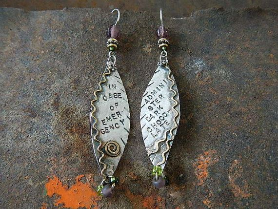 Silver Message Earrings In Case of Emergency by SacredCowJewelry,