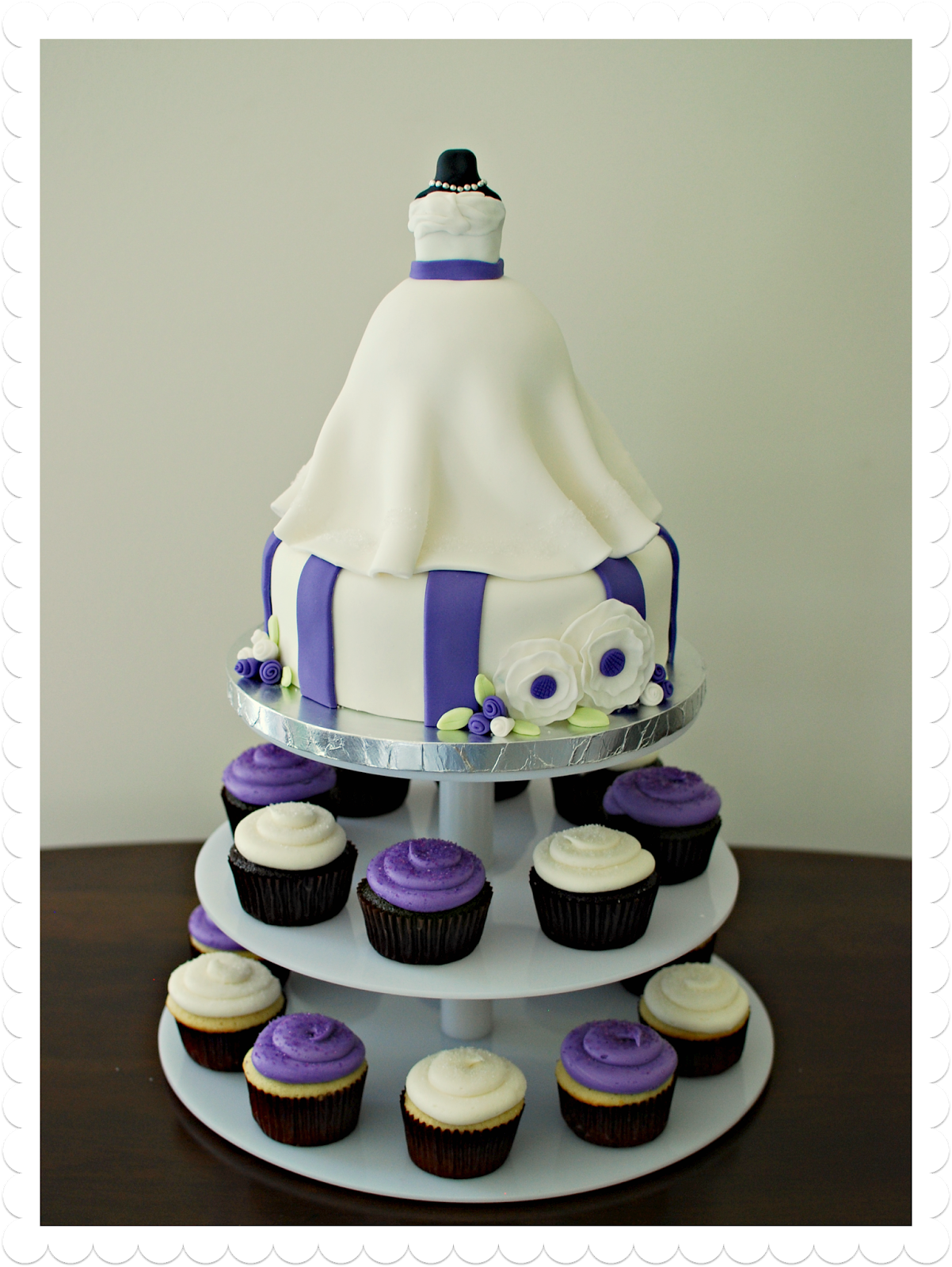 Wedding dress bridal shower cake + cupcakes by Snacky French