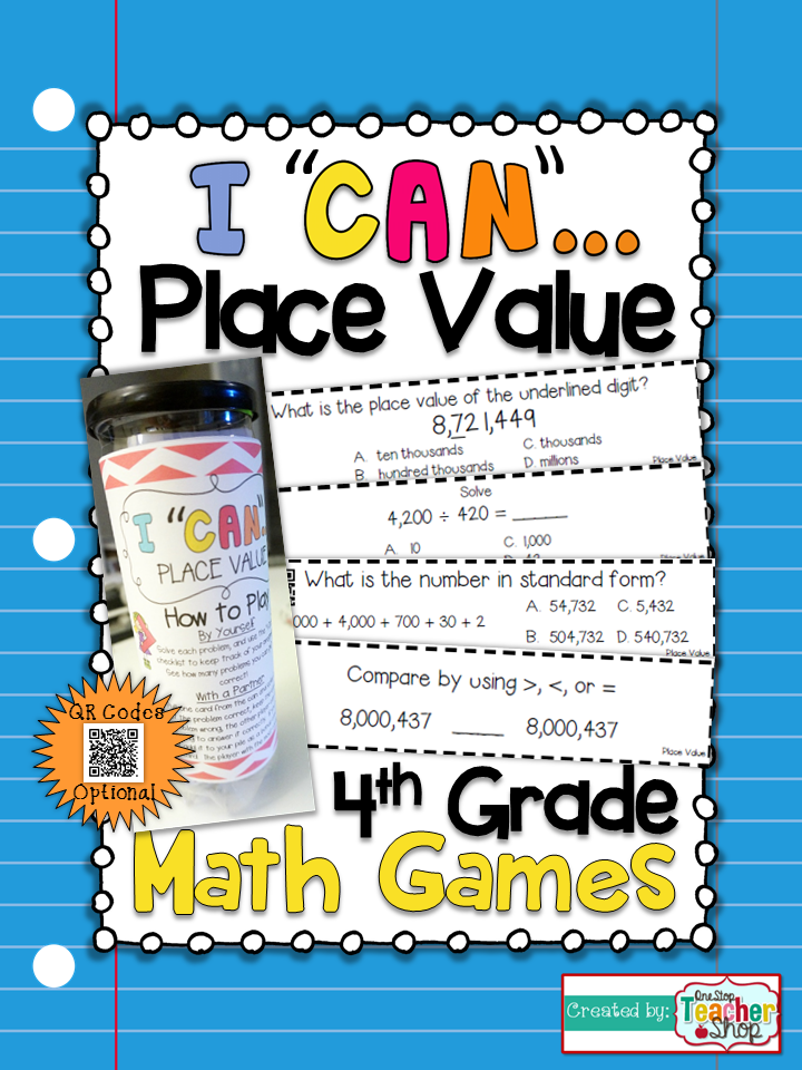4th Grade Place Value Game | 4th Grade Math Centers | Place values ...