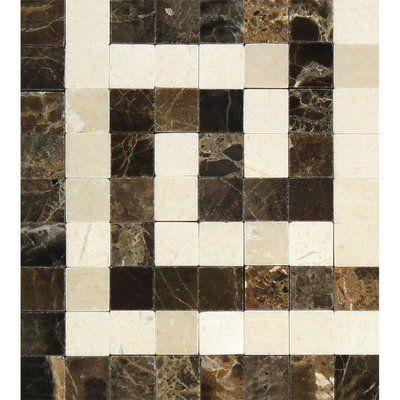 Meraki 4 X 4 Marble Corner Piece Tile Trim In Brown Cream Marble Polishing Greek Key Tile Trim