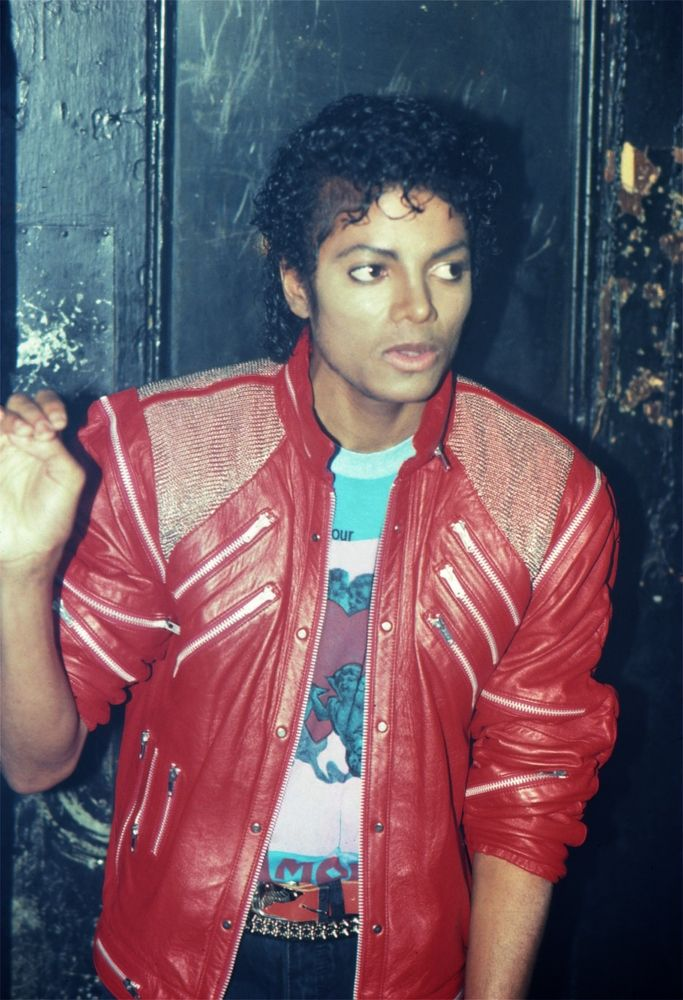 Michael Jackson in the famous red leather jacket Michael