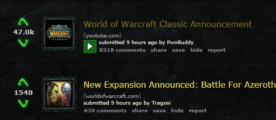 reddit and the two wow announcements worldofwarcraft blizzard