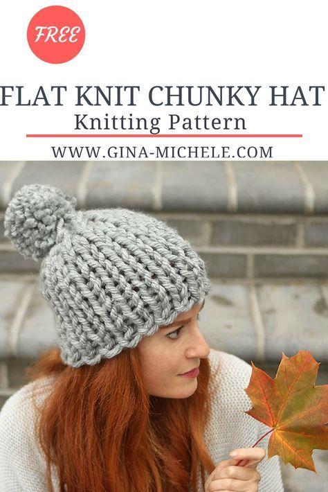 Flat Knit Chunky Hat Knitting Pattern | Chunky knitting ...