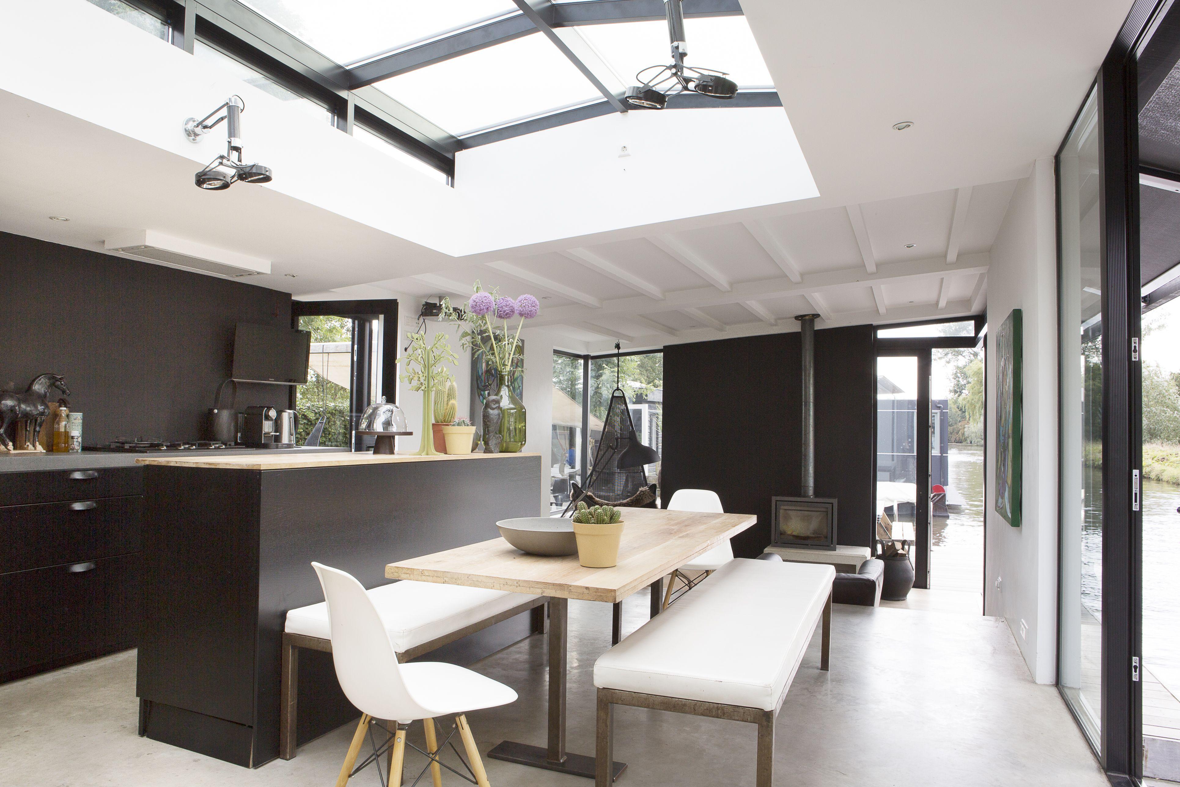Keuken en living woonark pinterest keuken interieur for Interieur ideeen living