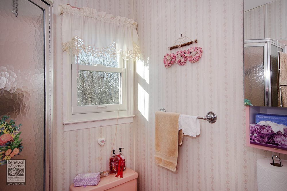A Pretty Bathroom In Levittown Got This New Double Hung Window Beauteous Bathroom Remodeling Long Island Interior