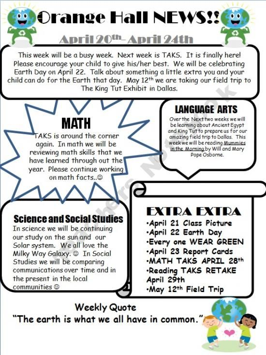 Classroom Newsletter Template that's student-friendly. I might add ...