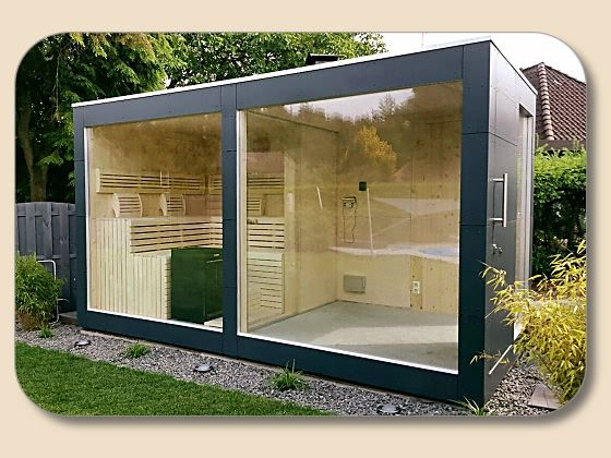 saunahaus design mit glasfront sauna pinterest klick. Black Bedroom Furniture Sets. Home Design Ideas