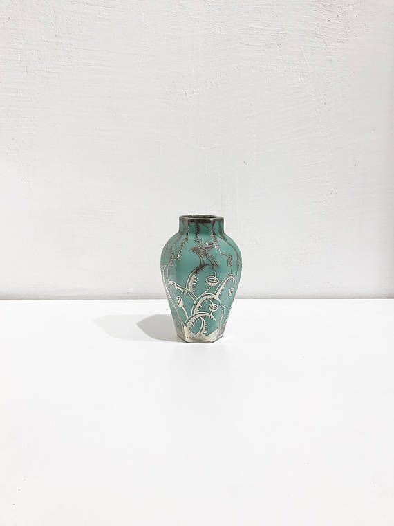 Arrigo Finzi Liberty Porcelain And Sterling Silver Vase 30s