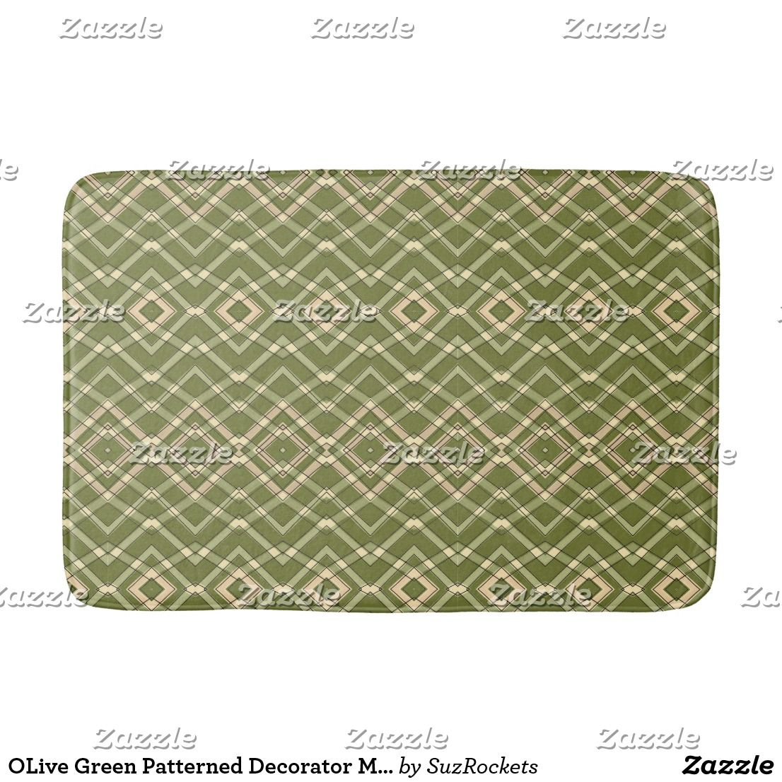 Olive Green Patterned Decorator Mat Zazzle Com Bath Mats