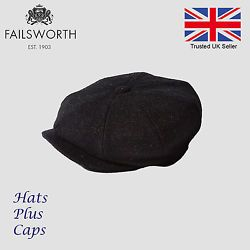 8da19a21 Failsworth Carloway black Harris Tweed newsboy peaky blinders flat cap wool  hat
