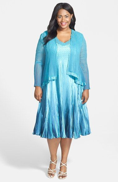 Komarov Charmeuse Dress & Chiffon Jacket (Plus Size) available at ...