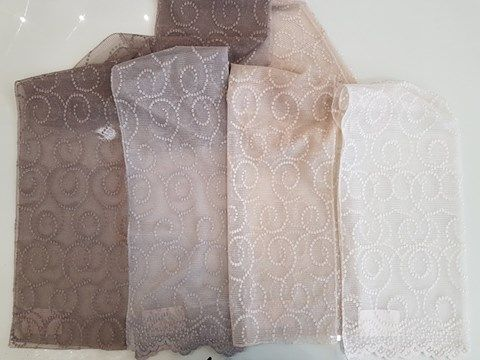 Fabric suitable for curtain width 2.80m. Lace in 4 color choices.  Ύφασμα κατάλληλο για κουρτίνα φάρδους 2.80μ Δαντελα σε 4 χρωματικές επιλογές