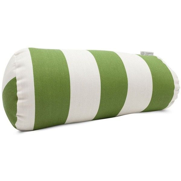 Majestic Home Goods Striped Indoor Outdoor Decorative Bolster Pillow,... ($56) ❤ liked on Polyvore featuring home, outdoors, outdoor decor, green, outdoor garden decor, outdoor patio decor and outdoor bolster pillows