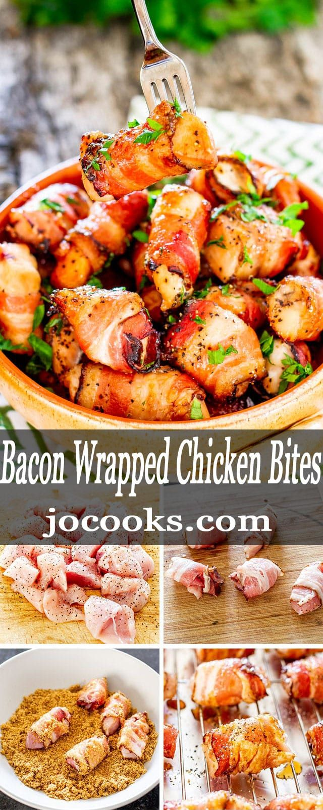 Bacon Wrapped Chicken Bites - Perfectly seasoned chicken pieces, wrapped in glorious bacon, rolled