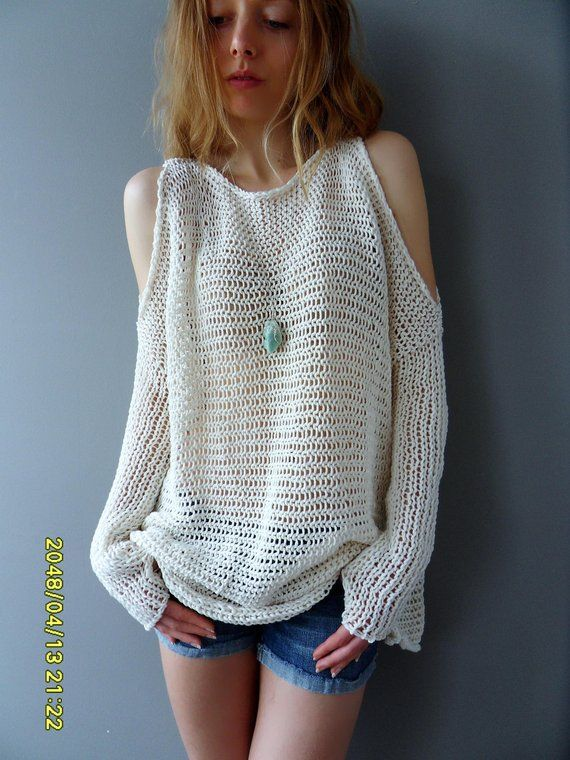ae09d0769c016c Oversized Slouchy knit sweater tunic. Open shoulders knit tunic. Loose knit  womens tunic.