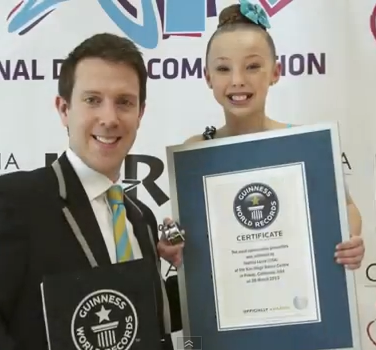 Sophia Lucia And A Guinness World Record Judge After She D Set The New Pirouette Record Guiness World Records Sophia Lucia World Records