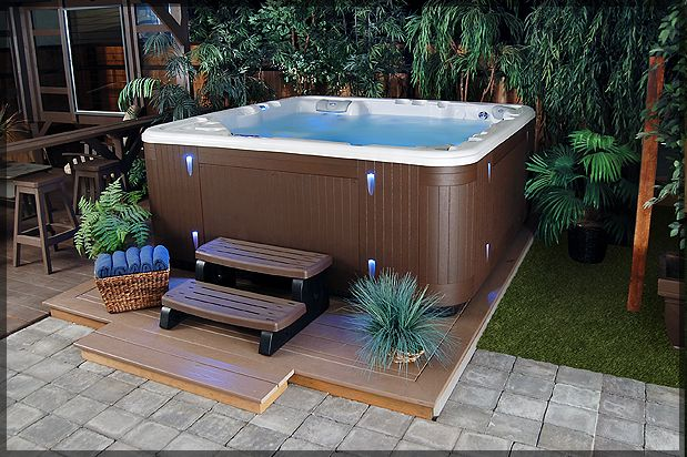Outdoor Awesome Backyard Hot Tub Ideas For Relaxing Time Stunning