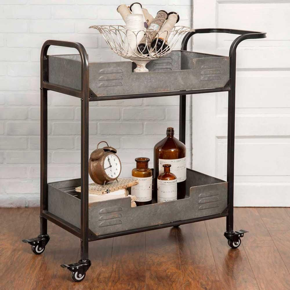 Metal two tier rolling serving cart industrial loft bar carts and