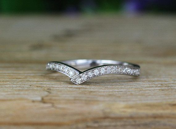 Double Chevron Diamond Ring V Shape Diamond Infinity Ring