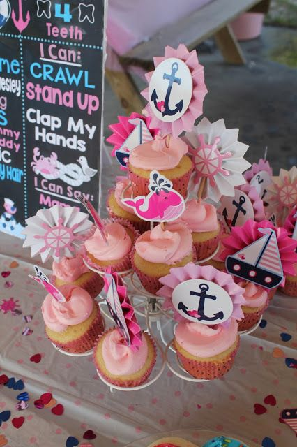Madison S First Birthday Navy Blue Pink Nautical Theme