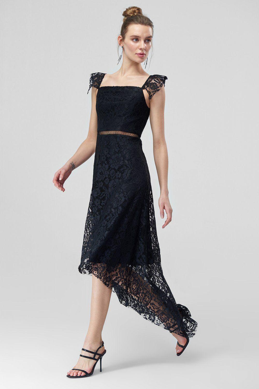 Trendyolmilla Siyah Dantel Midi Asimetrik Abiye Elbise Elbisebul Elbise Siyah Danteller Dantel