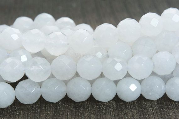 faceted white jade beads - transparent jade round beads - white stone beads for jewelry - white loose gemstones - 4-14mm jade beads -15inch