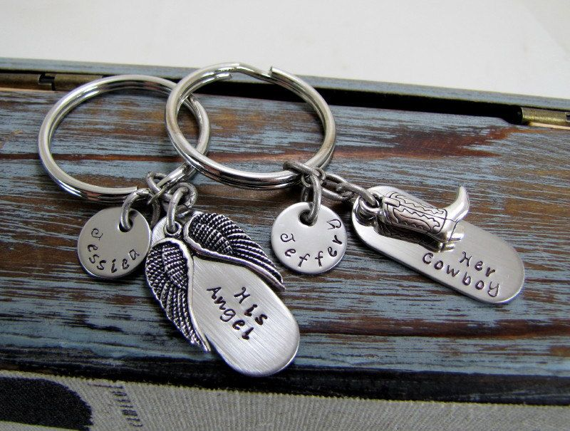 her cowboy his angel keychains personalized names by cuteability