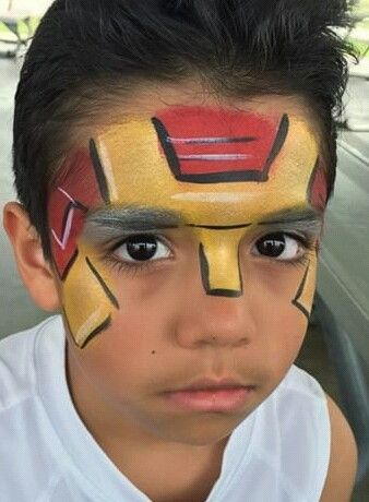 ironman face paint pintacaritas pinterest kinder. Black Bedroom Furniture Sets. Home Design Ideas