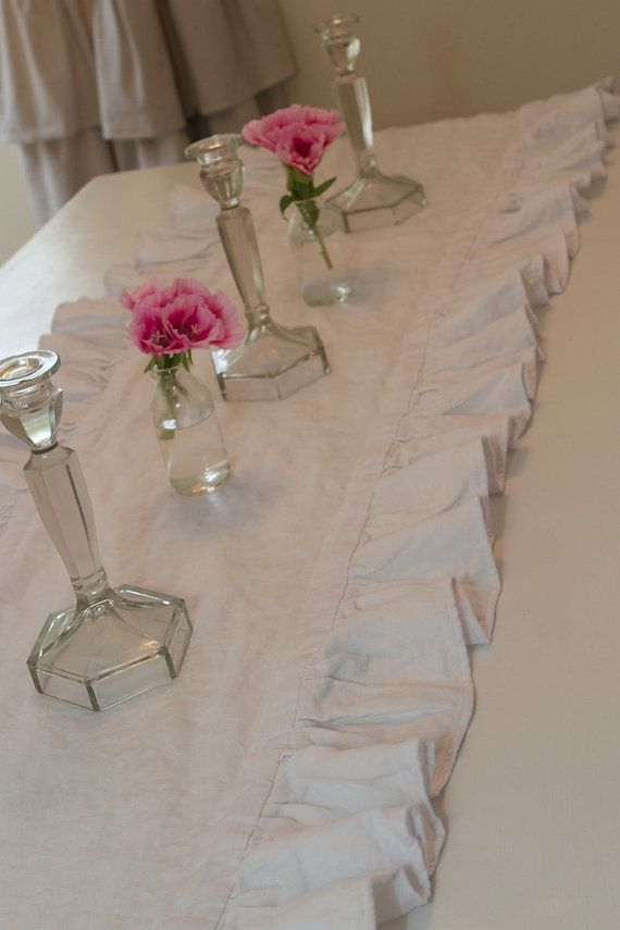 ruffled linen table liner - i need this