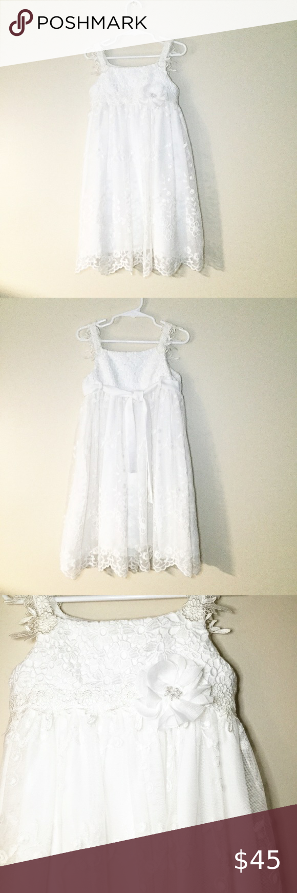 Bonnie Jean White Lace Dress With Lacy Straps 4t Absolutely Gorgeous Can Be Worn At Any Formal Occasion Or As A Flower Lace White Dress Lace Dress White Lace [ 1740 x 580 Pixel ]