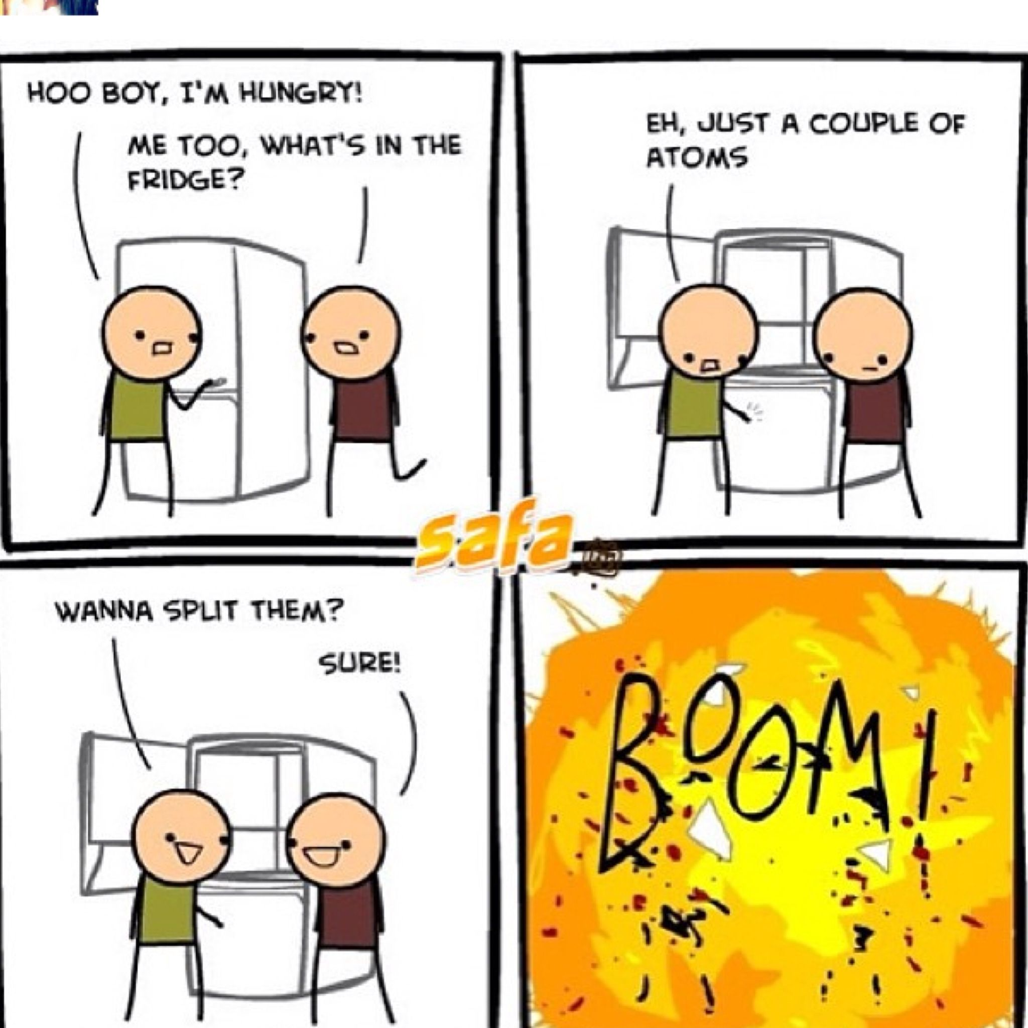Never Split Atoms Nerdy Jokes Cyanide And Happiness Funny Comic Strips