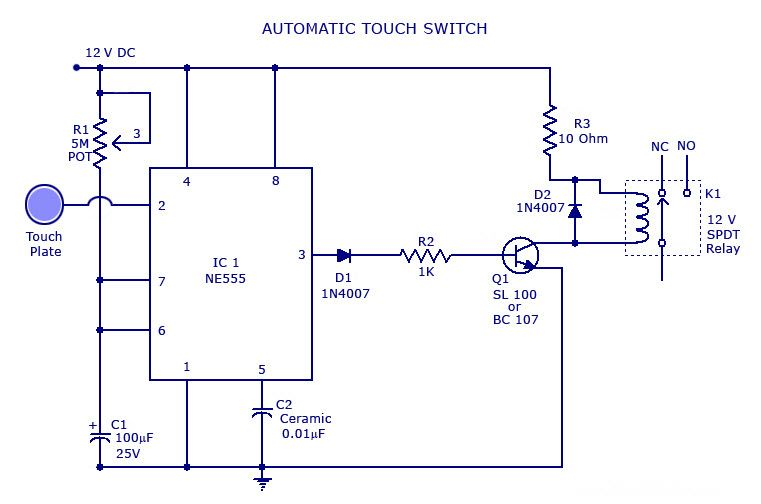 Touchswitch Circuit Is A Type Of Switch That Only Has To Be Touched By An Object To Operate It Is Used In Many Circuit Diagram Electronics Circuit Circuit