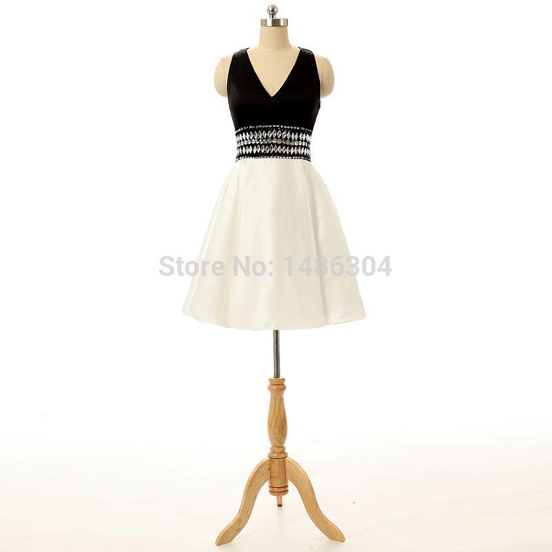 Party gown Black White Women Vestidos Sleeveless V-Neck Backless ...