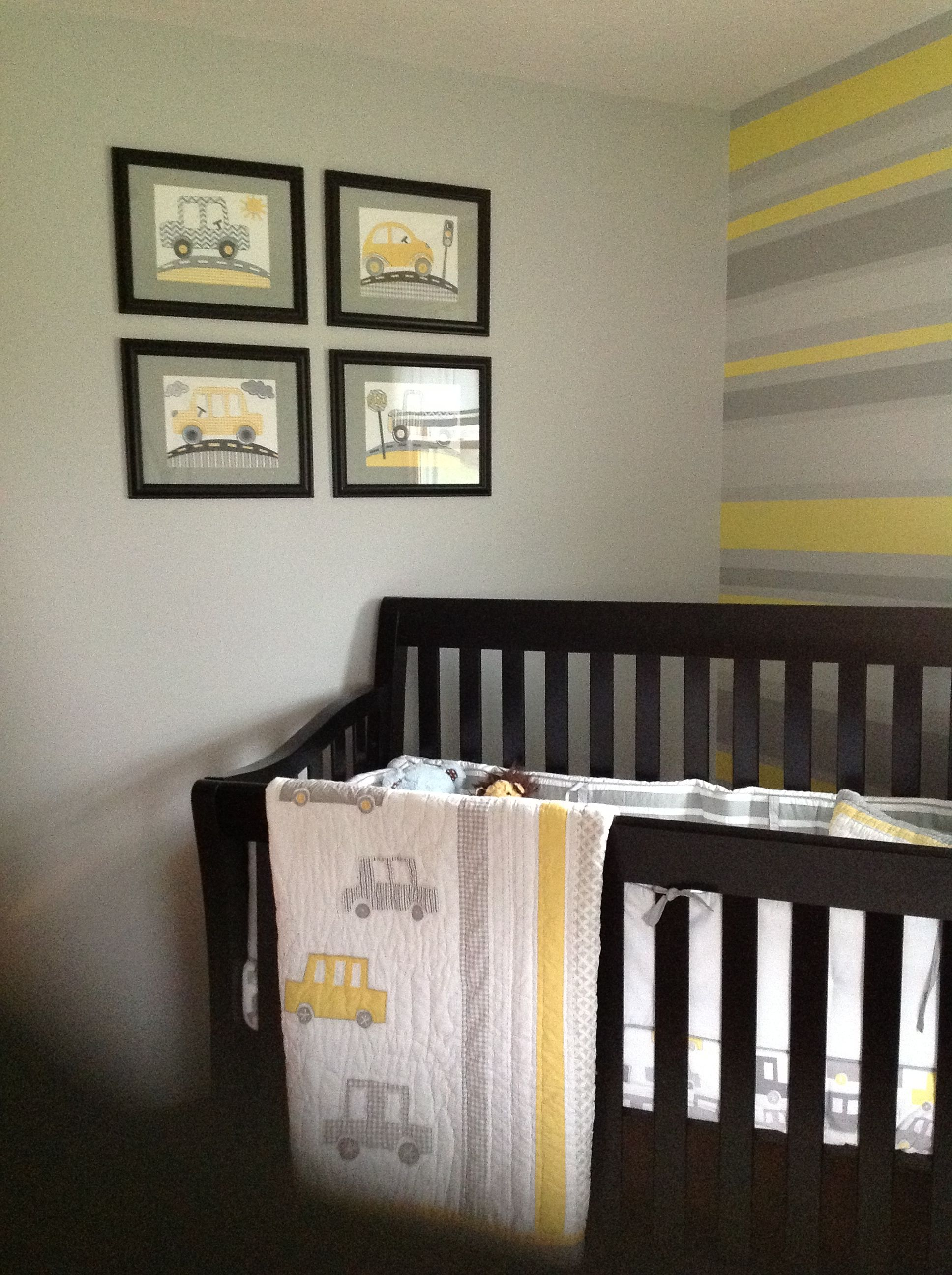 yellow and gray nurserymaybe you guys could stripe the wall