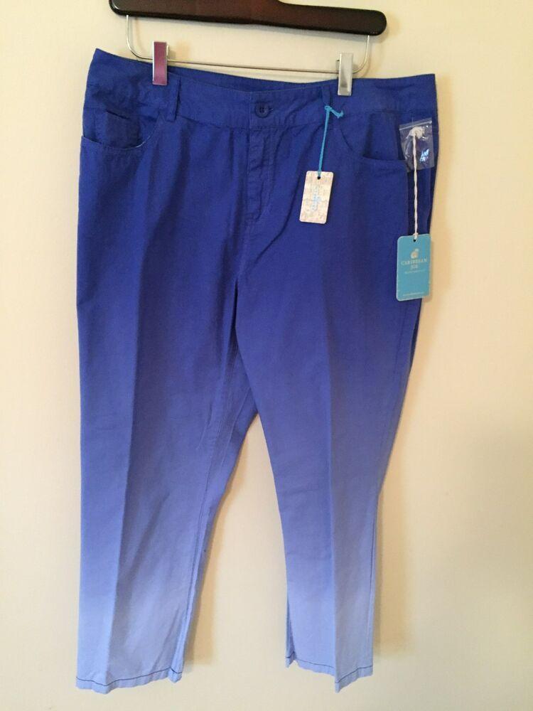 d68c5789e3b NWT Caribbean Joe Blue Capri Pants Size 12  fashion  clothing  shoes   accessories