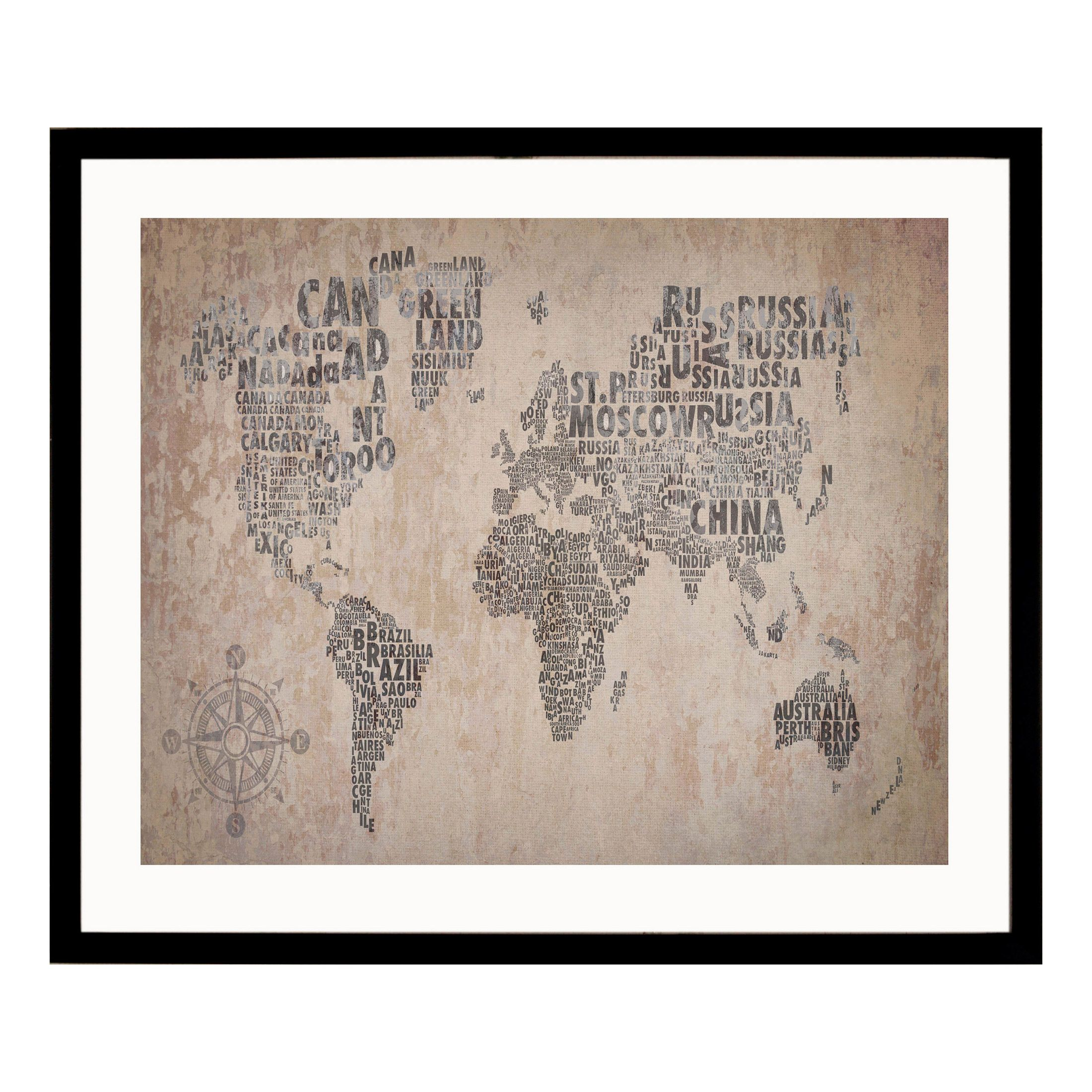 cadre d coratif carte du monde en bois mdf et verre 40x50cm world g c interiors deco. Black Bedroom Furniture Sets. Home Design Ideas