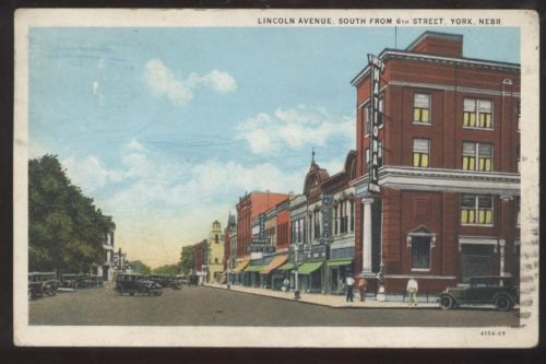 Postcard York Nebraska Ne 1st National Bank Business Storefronts
